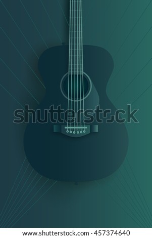 Live music poster design template. Acoustic guitar illustration.  - stock photo