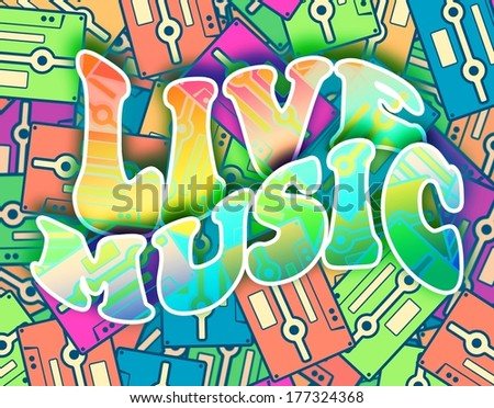 Live music retro concept. Vintage poster design - stock photo