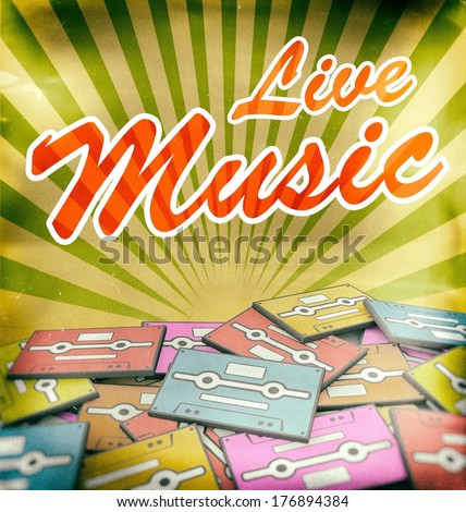 Live music vintage poster design. Retro concept on old cassettes - stock photo