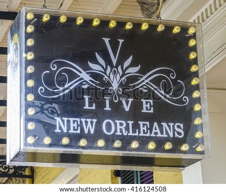 Live New Orleans Pub at French Quarter - NEW ORLEANS, LOUISIANA - APRIL 18, 2016  - stock photo