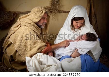 Live reenactment of the christmas nativity scene - stock photo