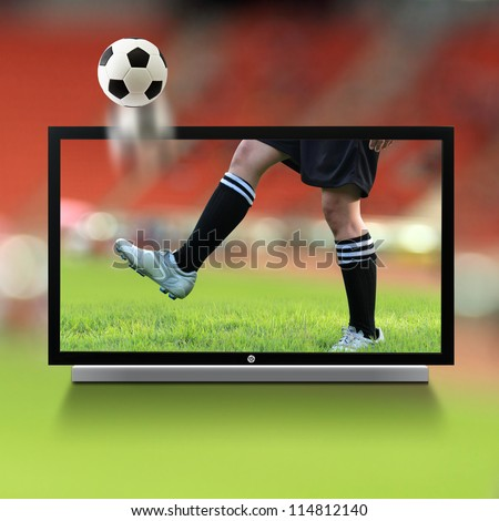 Live soccer on TV - stock photo