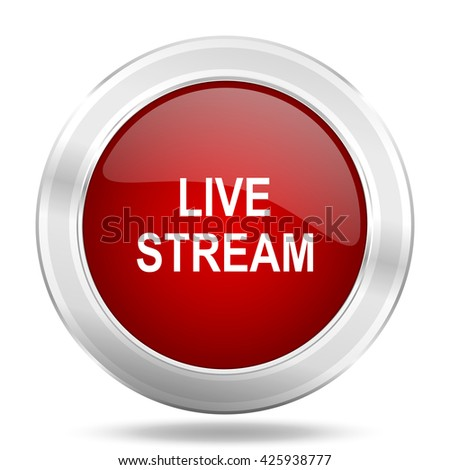 live stream icon, red round metallic glossy button, web and mobile app design illustration