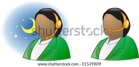 Live support icon online - offline (woman version #1) - stock photo