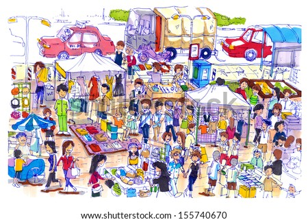 Lively and colorful flea market in Asia. Kind of flea or sunday market in asia well know shopping place for a good price and fine quality - stock photo