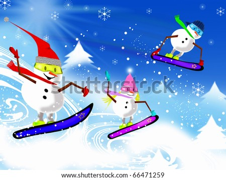 Lively and colorful Snowmen on snowboards going downhill - stock photo