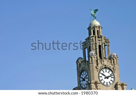 Liver Building in Liverpool England UK - stock photo