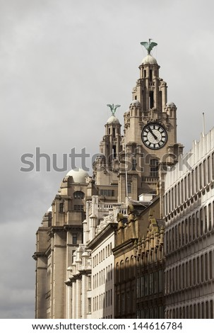 Liver Building, Liverpool against grey skies - stock photo