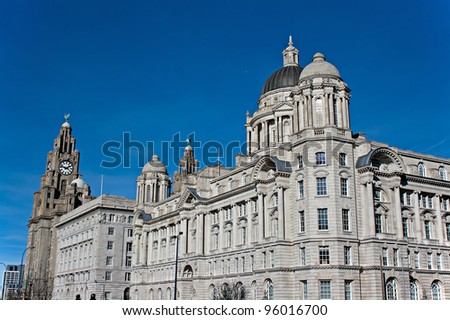 Liver Buildings on Liverpool waterfront - stock photo