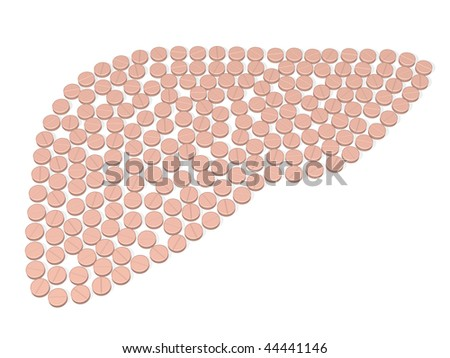 liver is composed by tablets over white - stock photo