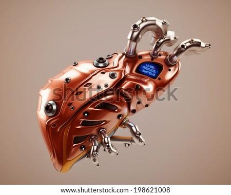 Liver Protocol Systems / Artificial robotic internal organ - steel liver with sensor - stock photo