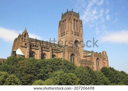 Liverpool Anglican Cathedral, a Grade 1 listed building, Merseyside,  North West England, UK - stock photo