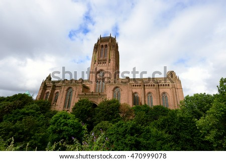 Liverpool Cathedral of the Church of England. Gothic Revival landmark.