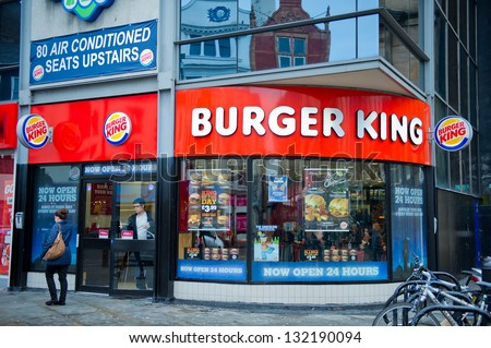 LIVERPOOL-DEC 18: Burger King Restaurant on Dec. 18, 2012 in Liverpool, United Kingdom. Burger King Worldwide Inc. is the second largest fast food hamburger chain in the world. - stock photo