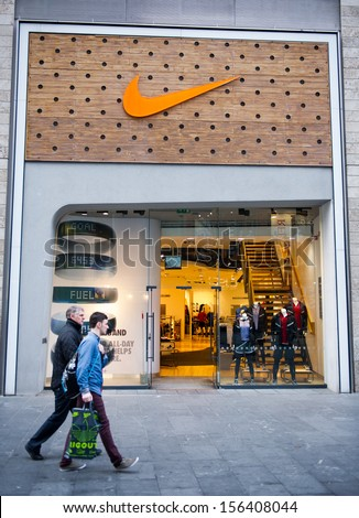 LIVERPOOL-DEC 18: Nike Store on Dec. 18, 2012 in Liverpool, UK. Nike is one of famous sports fashion brands worldwide and t is one of the world's largest suppliers of athletic shoes and apparel. - stock photo
