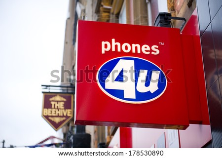 LIVERPOOL-DEC 18: Phoones 4u Store Sign on Dec. 18, 2012 in Liverpool, UK. Phones 4u is a large independent mobile phone retailer in the UK.  It has over 600 stores throughout the United Kingdom. - stock photo
