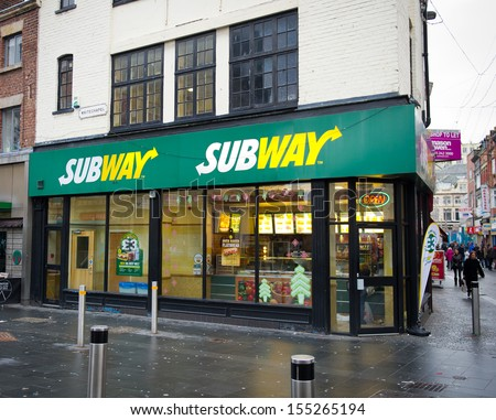 Liverpool - DECEMBER 18: A Subway fast food outlet on December 18, 2012 in Liverpool, UK. Subway is one of the fastest growing franchises in the world with 40,229 restaurants worldwide (2013).  - stock photo