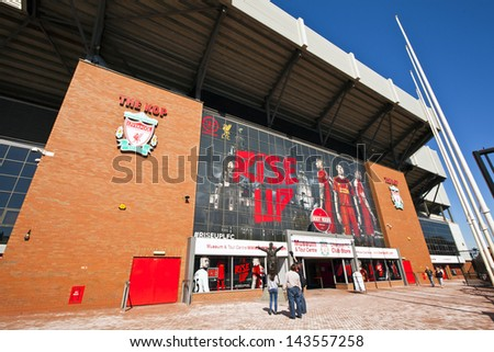 LIVERPOOL, ENGLAND - MAY 25: Anfield stadium is home of Liverpool Football Club one of the most successful English Premier League football clubs.  Anfield stadium on May 25, 2013 in Liverpool, UK. - stock photo