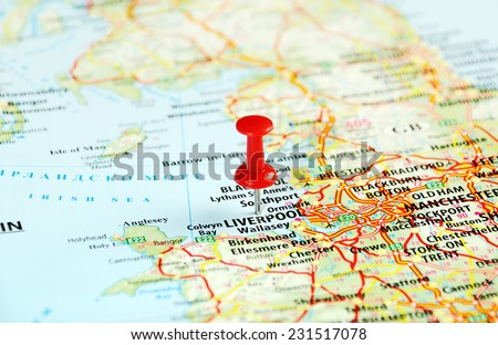 Liverpool England  ,United Kingdom  map  and  pin - Travel concept - stock photo