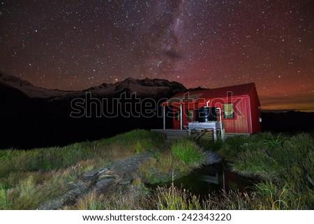 Liverpool Hut in the Matukituki Valley at Night, South Island of New Zealand - stock photo