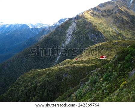 Liverpool Hut in the Matukituki Valley, New Zealand - stock photo