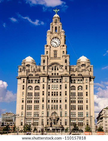 Liverpool Liver Building - One of the three graces of Liverpool. - stock photo
