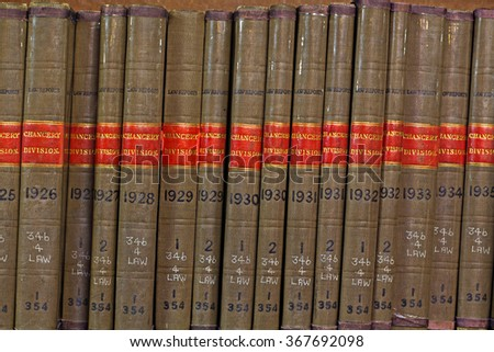 LIVERPOOL 16TH JANUARY 2016 Old library Law reports Chancery Division - stock photo