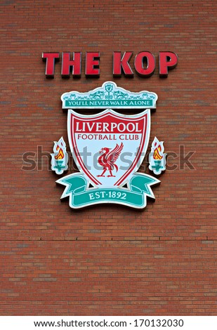 Liverpool, UK, April 21 2012 - Liverpool football club crest, on the Kop entrance to the stadium. - stock photo