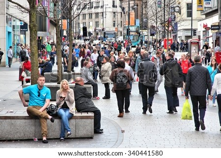 LIVERPOOL, UK - APRIL 20, 2013: People shop in Liverpool, UK. Liverpool City Region has a population of around 1.6 million people and is one of largest urban areas in the UK. - stock photo