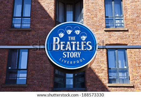 LIVERPOOL, UK - APRIL 18TH 2014: A sign for 'The Beatles Story' Exhibition in Liverpool on 18th April 2014. - stock photo