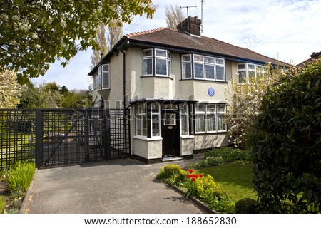 LIVERPOOL, UK - APRIL 16TH 2014: The childhood home of John Lennon (251 Menlove Avenue) in Liverpool on 16th April 2014. - stock photo