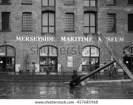 LIVERPOOL, UK - CIRCA JUNE 2016: Merseyside Maritime Museum in the Albert Dock in black and white