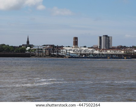 LIVERPOOL, UK - CIRCA JUNE 2016: Skyline view of the waterfront on River Mersey