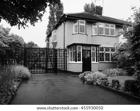 LIVERPOOL, UK - CIRCA JUNE 2016: The childhood home of John Lennon in 251 Menlove Avenue aka Mendips in black and white