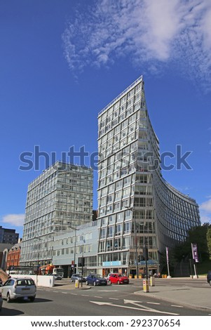 LIVERPOOL, UK - JUNE 30, 2015: Commercial building, Liverpool. Liverpool is a city in Merseyside, England, on the eastern side of the Mersey Estuary - stock photo