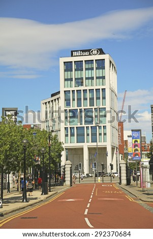 LIVERPOOL, UK - JUNE 30, 2015: Hotel near the Albert Docks, Liverpool. The Albert Dock is a major tourist attraction in the city and the most visited multi-use attraction in the UK, outside of London. - stock photo