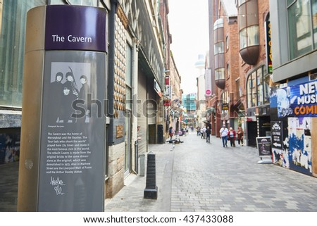 LIVERPOOL, UK. JUNE 09, 2016: Information stand at entrance to The Cavern Club, on Mathew Street, where The Beatles played their first concert, telling the story of the venue. - stock photo