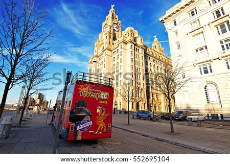 Liverpool UK, 5TH JANUARY 2017. Liverpool sightseeing bus in front of the Liver Buildings. Liverpool UK