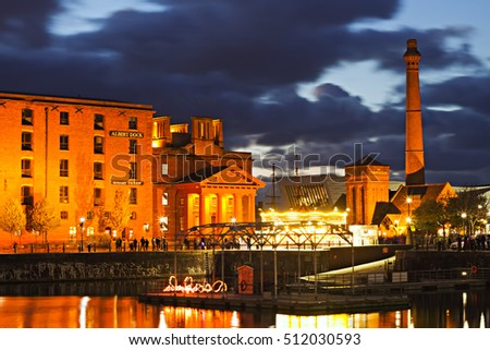 LIVERPOOL UK 5th NOVEMBER 2016. Albert Dock Liverpool lit up at night