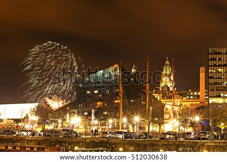 LIVERPOOL UK 5th NOVEMBER 2016. Firework display over the Liver Buildings on the waterfront