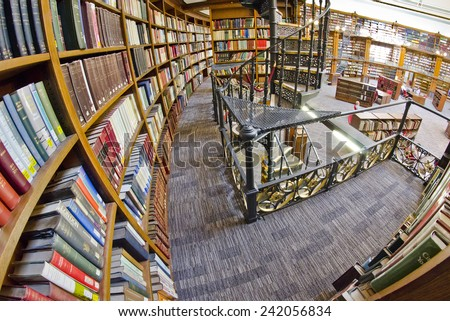 LIVERPOOL, UNITED KINGDOM - JUNE 23: interior of Central Library on June 23, 2014 in Liverpool, United Kingdom. Central Library is a Grade II listed building on the historic William Brown Street.