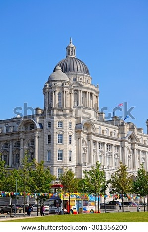 LIVERPOOL, UNITED KINGDOM - JUNE 11, 2015 - Port of Liverpool Building formerly known as the Mersey Docks and Harbour Board Office at Pier Head, Liverpool, Merseyside, England, UK, June 11, 2015.