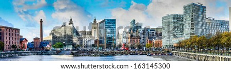 LIVERPOOL, UNITED KINGDOM - NOVEMBER 07: The skyline across Salthouse dock November 7th, 2013 in Liverpool, UK. The 25th anniversary of the Albert Dock generated a 20% increase in visitors - stock photo