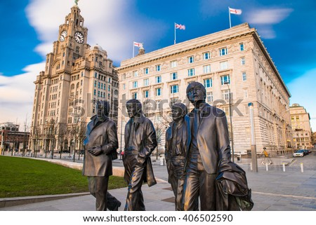 Liverpool, United Kingdoml: FEBRUARY 10th 2016 - A bronze statue of the four Liverpool Beatles stands on Liverpool Waterfront, weighing in at 1.2 tonnes and sculpted by sculpture Andrew Edwards. - stock photo