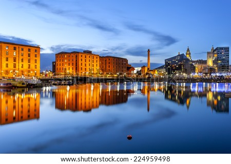 Liverpool waterfront skyline with its famous buildings like Pierhead, albert dock, salt house, ferry terminal etc. - stock photo