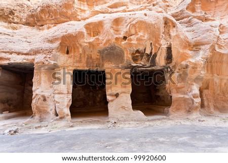 living ancient caverns  in Little Petra, Jordan - stock photo