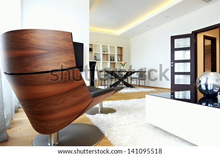 Living and dining room interior - stock photo