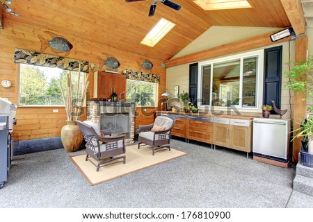 Living and dining room. Open wall design idea - stock photo
