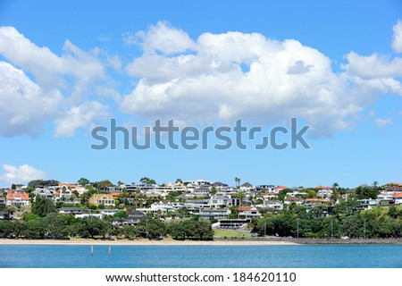 Living area along Mission bay, Auckland, New Zealand - stock photo
