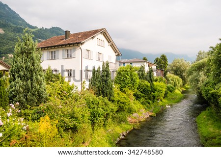 Living house near the river in Vaduz, Lichtenstein